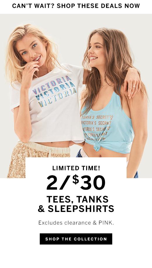 2/$30 Tees, Tanks & Sleepshirts