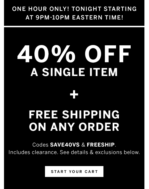 40% Off Any One Item Plus Free Shipping