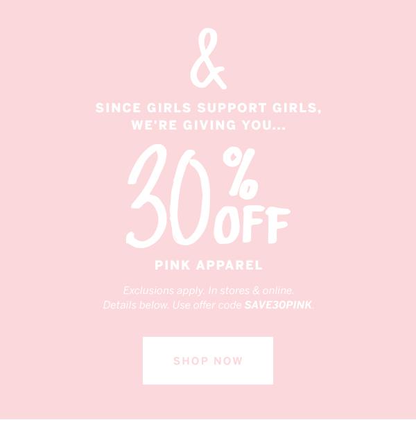 30% Off PINK Apparel
